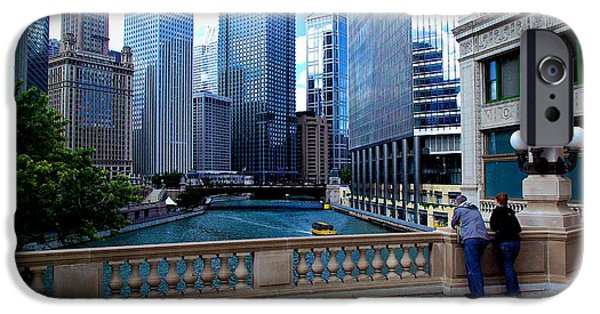 Citylife iPhone Cases - Summer Breeze on the Chicago River - Color iPhone Case by Frank J Casella