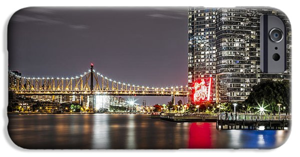 Hudson River iPhone Cases - Summer city night iPhone Case by Eduard Moldoveanu