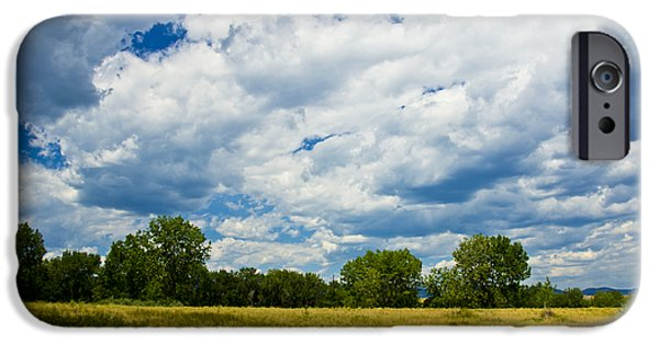 Field. Cloud Mixed Media iPhone Cases - Summer Clouds In Colorado iPhone Case by Angelina Vick