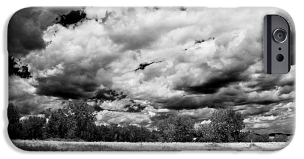Field. Cloud Mixed Media iPhone Cases - Summer Clouds In Colorado BW iPhone Case by Angelina Vick