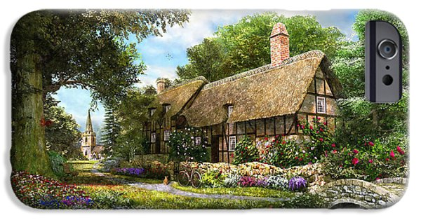 Stream Digital Art iPhone Cases - Summer Country Cottage iPhone Case by Dominic Davison