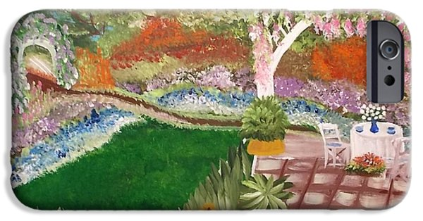 Patio Table And Chairs iPhone Cases - Summer Garden iPhone Case by Cheryl Bowen-Hance