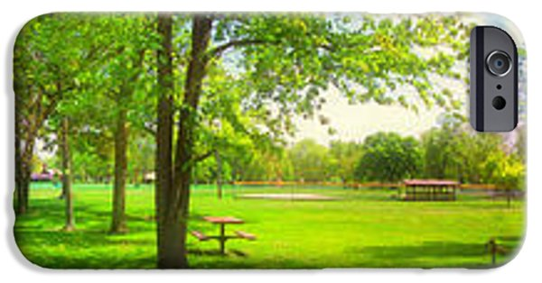 Shed iPhone Cases - Summer In A Park Panorama iPhone Case by Thomas Woolworth