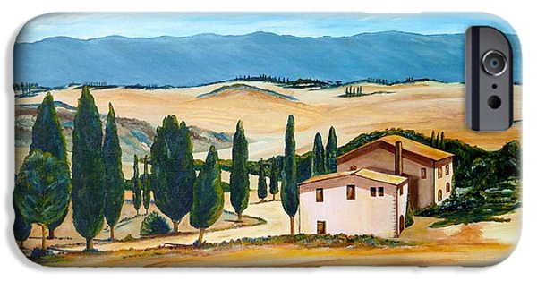 Cabin Window Paintings iPhone Cases - Summer in Tuscany iPhone Case by Christine Huwer