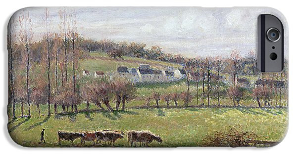Pissarro iPhone Cases - Summer Landscape. Eragny iPhone Case by Camille Pissarro
