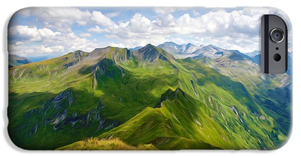 Green Day Paintings iPhone Cases - Summer landscape in mountains and the blue sky with clouds iPhone Case by Lanjee Chee
