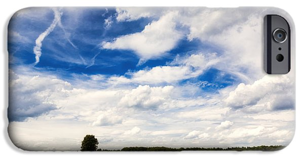 Skies iPhone Cases - Summer landscape with cornfield blue sky and clouds on a warm summer day iPhone Case by Matthias Hauser