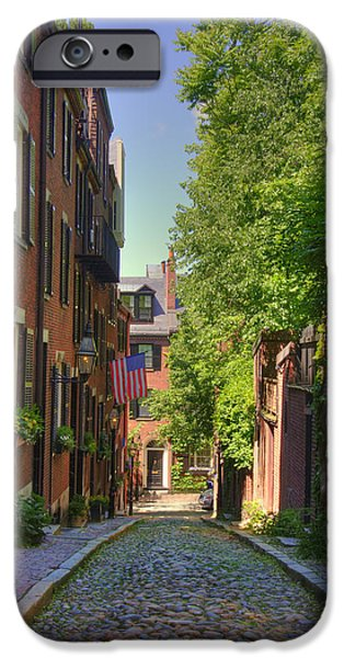 Massachusetts Autumn Scenes iPhone Cases - Summer on Acorn St. iPhone Case by Joann Vitali