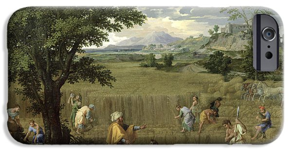 Harvest iPhone Cases - Summer, Or Ruth And Boaz, 1660-64 Oil On Canvas iPhone Case by Nicolas Poussin