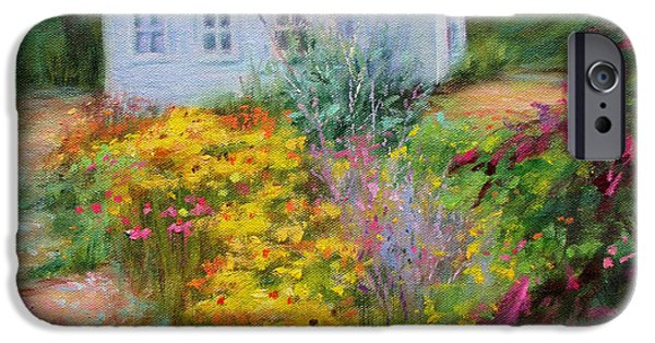 Garden Scene Paintings iPhone Cases - Summer Place- On the Outer Banks iPhone Case by Bonnie Mason
