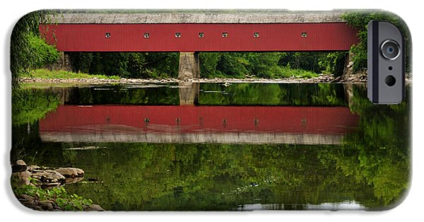Kent Connecticut iPhone Cases - Summer Reflections at West Cornwall Covered Bridge iPhone Case by Thomas Schoeller