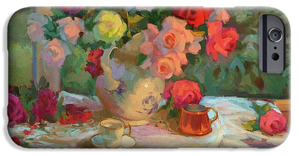 Pastel iPhone Cases - Summer Roses iPhone Case by Diane McClary