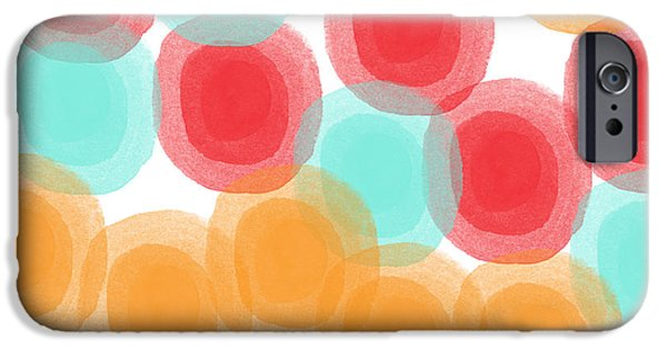 Modern Abstract Mixed Media iPhone Cases - Summer Sorbet- abstract painting iPhone Case by Linda Woods
