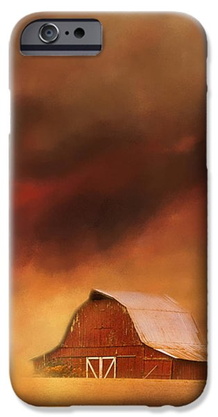 Autumn In The Country iPhone Cases - Summer Storm At The Barn iPhone Case by Jai Johnson