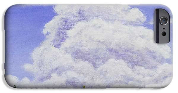 Maine Landscapes Paintings iPhone Cases - Summer Storm Clouds Over Maine Forest iPhone Case by Keith Webber Jr