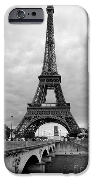 Famous Bridge iPhone Cases - Summer Storm over the Eiffel Tower iPhone Case by Carol Groenen