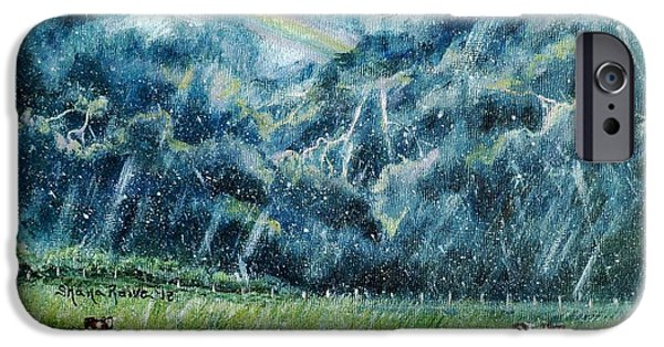 Maine Farms Paintings iPhone Cases - Summer Storm iPhone Case by Shana Rowe