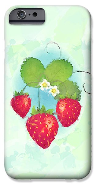 Tendrils iPhone Cases - Summer strawberries iPhone Case by Jane Rix