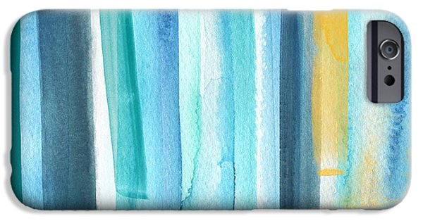 Aqua iPhone Cases - Summer Surf- Abstract Painting iPhone Case by Linda Woods