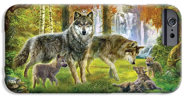 House iPhone Cases - Summer Wolf Family iPhone Case by Jan Patrik Krasny