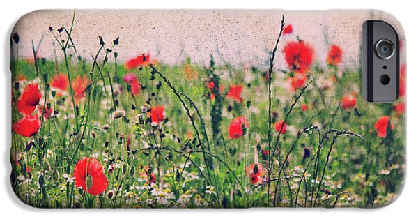 Field. Cloud Mixed Media iPhone Cases - Summerday iPhone Case by Angela Doelling AD DESIGN Photo and PhotoArt