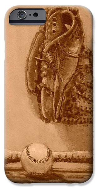 Baseball Glove Paintings iPhone Cases - Summers Game iPhone Case by Bill Tomsa