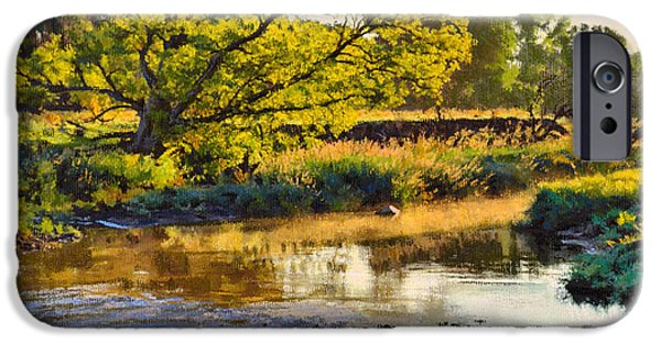 Creek Pastels iPhone Cases - Summers Stream Dawn iPhone Case by Bruce Morrison