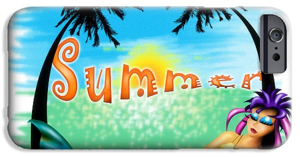Airbrush Drawings iPhone Cases - Summertime iPhone Case by Alessandro Della Pietra