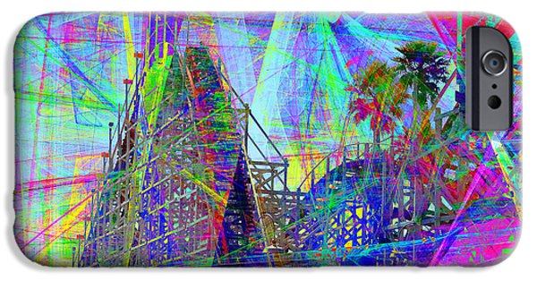 Santa Cruz Ca iPhone Cases - Summertime At Santa Cruz Beach Boardwalk 5D23930 square iPhone Case by Wingsdomain Art and Photography