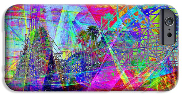 Santa Cruz Ca iPhone Cases - Summertime At Santa Cruz Beach Boardwalk 5D23930 iPhone Case by Wingsdomain Art and Photography