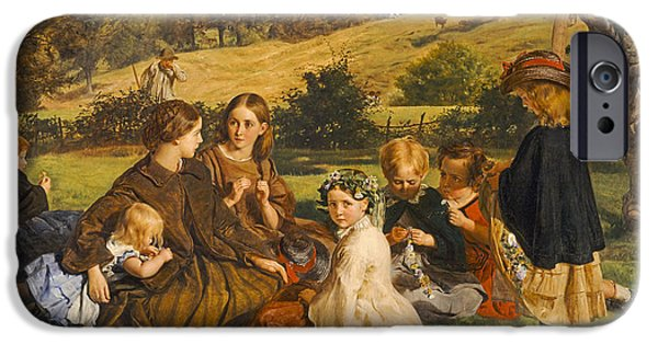 Gathering Photographs iPhone Cases - Summertime, Gloucestershire, Exh.1860 Oil On Canvas iPhone Case by James Archer
