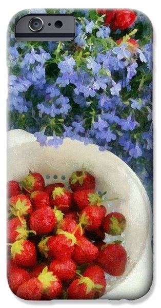 Red White And Blue Digital iPhone Cases - Summertime Table iPhone Case by Michelle Calkins
