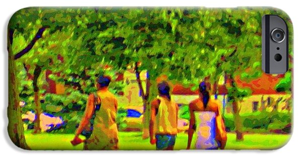 Park Scene Paintings iPhone Cases - Summertime Walk Through The Beautiful Tree Lined Park Montreal Street Scene Art By Carole Spandau iPhone Case by Carole Spandau