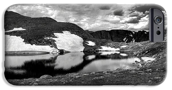 Nature Study iPhone Cases - Summit Lake Study 4 BW iPhone Case by Robert Meyers-Lussier
