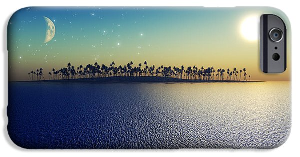 Coastline Digital Art iPhone Cases - Sun And Moon iPhone Case by Aleksey Tugolukov
