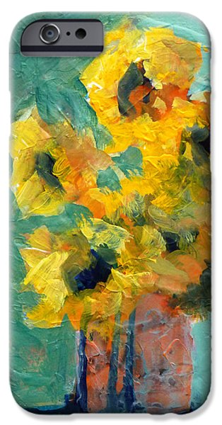 Abstract Sunflower iPhone Cases - Sun and Shadow iPhone Case by Nancy Merkle