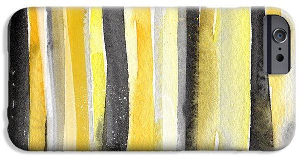 Yellow And Grey Abstract Art iPhone Cases - Sun and Shadows- abstract painting iPhone Case by Linda Woods