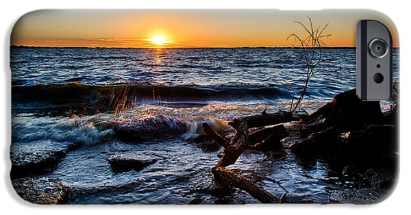 Coast Pyrography iPhone Cases - Sun at the lake iPhone Case by Keith Homan