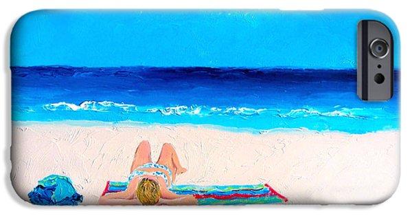 Beach Towel iPhone Cases - Girl in a Blue Bikini Beach Painting iPhone Case by Jan Matson