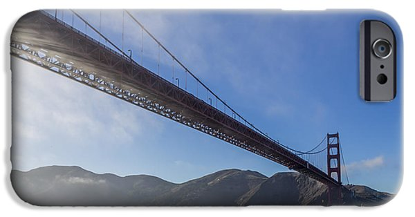 Sun Breaking Through Clouds iPhone Cases - Sun Beams through the Golden Gate iPhone Case by Scott Campbell