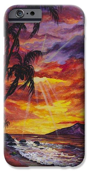 Sun Rays Paintings iPhone Cases - Sun Burst iPhone Case by Darice Machel McGuire