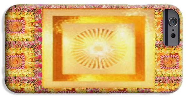 Diy iPhone Cases - SUN Chakra Gold Pattern Textures Patterns Background Designs  and Color Tones n Color Shades availab iPhone Case by Navin Joshi