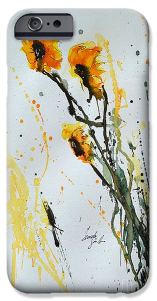 Ismeta iPhone Cases - Sun-Childs- Flower Painting iPhone Case by Ismeta Gruenwald