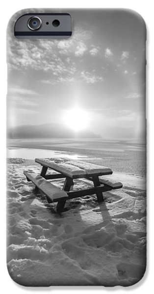 Landscape In Norway iPhone Cases - Sun Dog bw iPhone Case by Rose-Maries Pictures