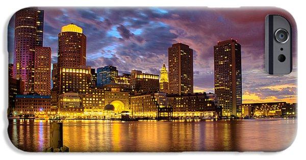 Newengland iPhone Cases - Sun dusk over Boston Harbor iPhone Case by Ludmila Nayvelt