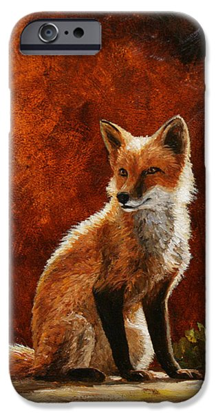 Fox Paintings iPhone Cases - Sun Fox iPhone Case by Crista Forest