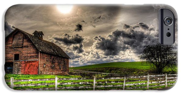 Old Barn iPhone Cases - Sun Gazing upon an Old Barn iPhone Case by Derek Haller