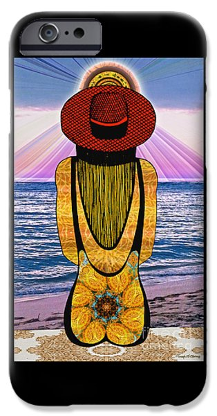 Pen And Ink iPhone Cases - Sun Girls Back iPhone Case by Joseph J Stevens