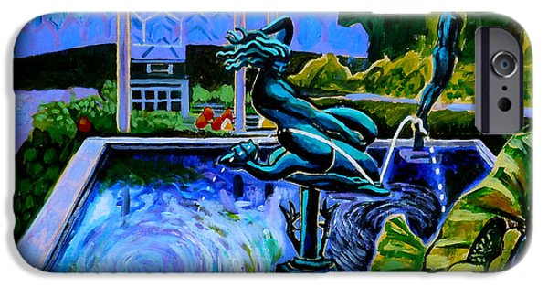 Cityscenes Paintings iPhone Cases - Sun Glitter Mermaid At Missouri Botanical Garden iPhone Case by Genevieve Esson