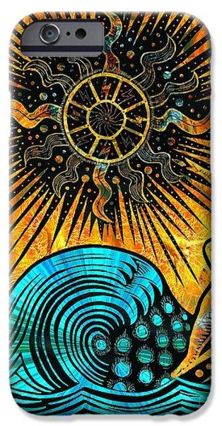 Pen And Ink iPhone Cases - Big Sur Sun Goddess iPhone Case by Joseph J Stevens